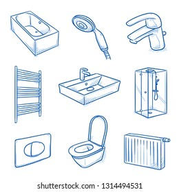 Set of sanitary and heating installer interior objects: shower, bath tub, water basin, mixing tap, shower head, toilet and radiator. Hand drawn blue line art cartoon vector illustration.