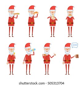 Set of Santa Claus characters posing with different food and drinks. Cheerful Santa eating fast food, pizza, hamburger, noodles soup, drinking tea, juice, beer, water. Flat style vector illustration