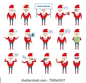 Set of Santa Claus characters showing various actions. Cheerful Santa karaoke singing, celebrating, holding map, loudspeaker, signboard and showing other actions. Flat style vector illustration
