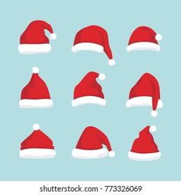 Set of santa claus hat illustration vector