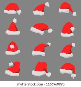 Set of Santa Claus hats Christmas theme. Design element or poster, greeting card, banner, flyer, decoration. Vector illustration