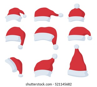 Set of Santa Claus red hat in cartoon flat style. Santa Claus red hat isolated on white background