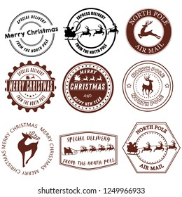 Set of Santa Claus signs. Collection of stamps of the North Pole. Vector illustration of stamps for mail. Christmas Signs. Drawing for children.