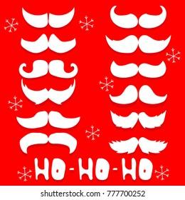 Set Santa mustache vector illustration.EPS 10