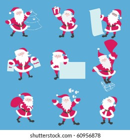 Set of Santa. Santa say ho-ho. Keeps a list of present, carries bag, comes down the chimney, dresses up Christmas tree, asks a Nice or Naughty, Keeps a present. eps8 file