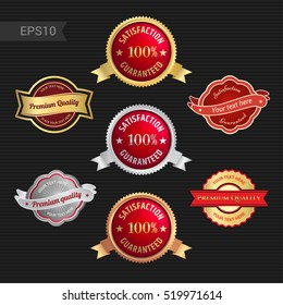 Set of satisfaction guarantee and premium quality emblem or badge with award ribbon in red color tone