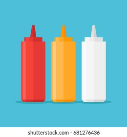 Set of sauce bottles isolated on blue background. Ketchup, mustard and mayonnaise. Vector illustration.