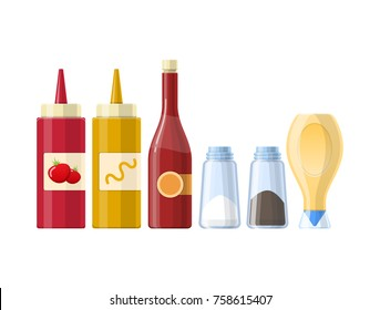 Set of sauces, spices, condiments ketchup, mustard, salt, black pepper, mayonnaise, butter, in beautiful realistic bottles, packages. Condiments and sauces for kitchen cooking Vector illustration