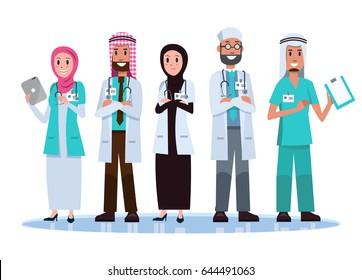Set of Saudi Arab Medical team concept.  flat character design .Vector illustration