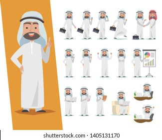 Set of Saudi businessman. Arab man character design with a different poses on a white background.