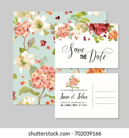Set of Save the Date Cards with Autumn Vintage Hortensia Flowers for Wedding, Invitation, Party in vector