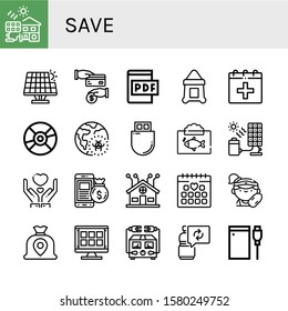 Set of save icons. Such as Solar cell, Renewable energy, Cash back, Pdf file, Sack, Date, Compact disc, Global warming, Flash drive, Ecosystem, Give, Money bag, Smart home , save icons