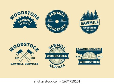 Set of sawmill labels, badges and design elements