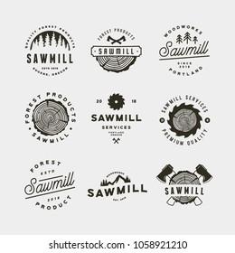 set of sawmill logos. retro styled woodwork emblems, badges, design elements, logotype templates. vector illustration