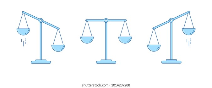 Set of scales. Bowls of scales in balance, an imbalance of scales. Vector illustration. Line design.