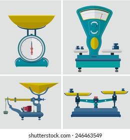 Set  scales, retro. Vector illustration. flat