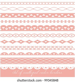 Set of scalloped vector borders with hearts.