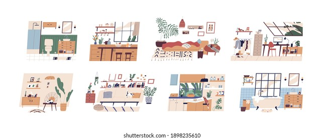 Set of scandi interiors isolated on white background. Cozy furnished rooms WC, bathroom, bedroom, living room, kitchen and workplace with houseplants and modern furniture. Flat vector illustration