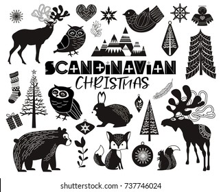 Set of Scandinavian objects for Christmas. Editable vector illustration.