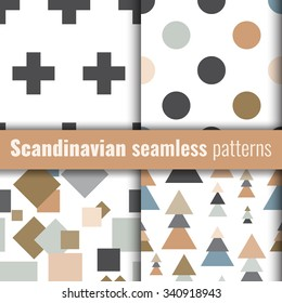 Set of scandinavian patterns. Geometric patterns. Stock vector.