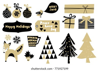 A set of Scandinavian style Christmas design elements in black and golden isolated on white background.