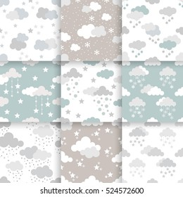 Set of Scandinavian trend seamless winter pattern. Minimalistic xmas vector seamless pattern perfect for wallpaper, textile cotton print, bed linen, holiday package or wrapping paper.