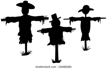 set of scarecrows isolated on white