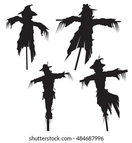 set of scarecrows, vector illustration