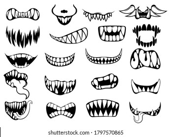Set of scary smile masks. Collection of different types of smiling faces with teeth. Line art. Creepy mouth masks. Halloween masks. Vector illustration for children. Tattoos.