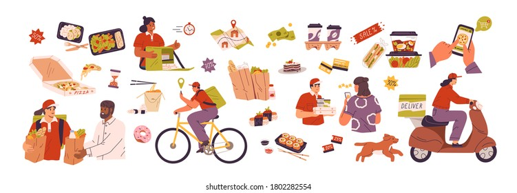 Set of scenes with delivery service of takeaway food. Mobile application for product online order. People pizza deliveryman on scooter and bicycles. Flat vector cartoon illustration isolated on white
