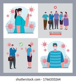 set scenes of distancing social, keep distance in public, prevention coronavirus covid 19 vector illustration design - Shutterstock ID 1766333264