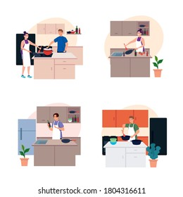 set scenes people cooking in the kitchen vector illustration design
