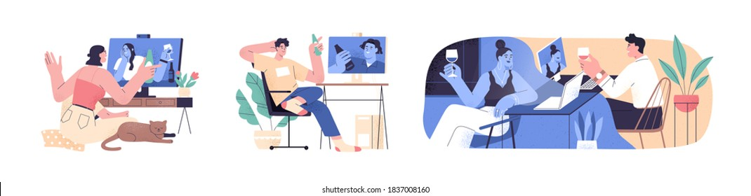 Set of scenes with people videoconferencing and drinking wine or beer together. Friends and couple video call. Men and women meeting online. Distance communication. Flat vector cartoon illustration