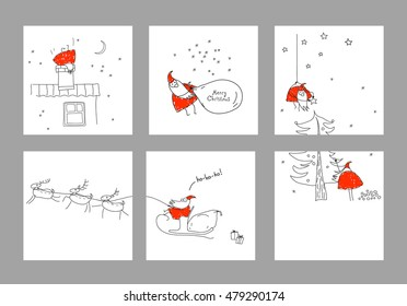 A set scenes with Santa Claus. Merry christmas. Xmas sketch. Hand-drawn elements for New Year's design. Graphic illustration in red, black and white colors. Collection of banners, flyers, invitations