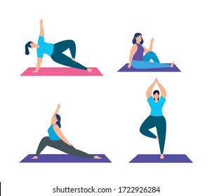 set scenes of women practicing yoga vector illustration design