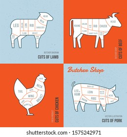 Set a schematic view of animals for the butcher shop. Cow and pork, cattle and pig, chicken and lamb meat illustration. Vector meat cuts.