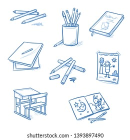 Set of school art class objects: school desk, pencils, markers, novel, sheets of paper, drawing, picture book. Hand drawn blue line art cartoon vector illustration.