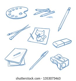 Set of school and art objects, as drawing paper, pencil, brush, eraser, sharpener, color palette and crayons. Hand drawn line art cartoon vector illustration.