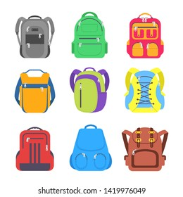 Set school backpack, sport and travel bag different shape flat icon isolated on white background