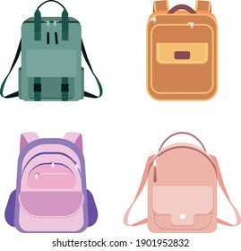 Set of school backpacks in monochrome colors, flat vector illustration isolated on white background.