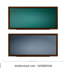 Set of school blackboard vector. Chalkboard with black and green backgrounds. Element for design on a school or business theme.