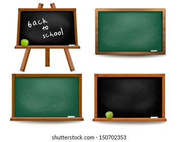 Set of school board blackboards. Back to school. Vector illustration
