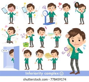 A set of school boy on inferiority complex. There are actions suffering from smell and appearance. It's vector art so it's easy to edit.