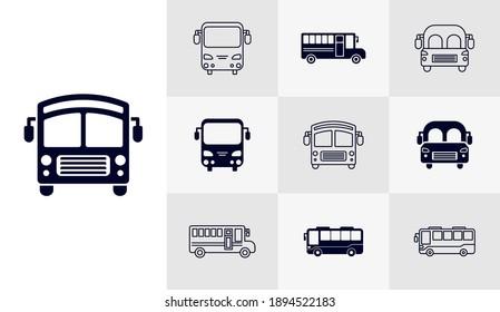 Set of School bus icon logo vector template, Education icon concepts, Creative design
