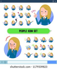 A set of school girl with expresses various emotions on the SNS screen.There are variations of emotions such as joy and sadness.It's vector art so it's easy to edit.