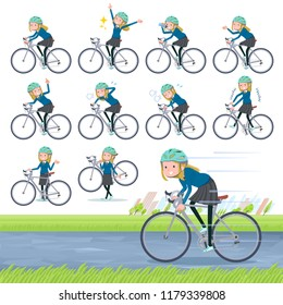 A set of school girl on a road bike.There is an action that is enjoying.It's vector art so it's easy to edit.