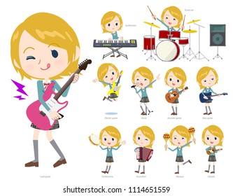 A set of School girl playing rock 'n' roll and pop music.
