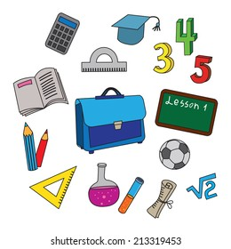 Set of school icons. Vector collection of usual scool objects.