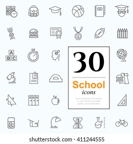 Set of school icons for website or print. 30 design line icons high quality, vector illustration.