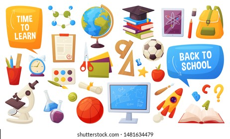 Set of school items. Cartoon objects and supplies include: books, backpack, computer, globe, ball, alarm, ruler, microscope, flasks, notebook, cap, grades list, apple. Vector education elements